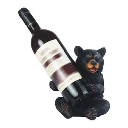 GSC - 7.25 Inch Happy Black Bear Sitting Wine Holder - This gorgeous 7.25 Inch Happy Black Bear Sitting Wine Holder has the finest details and highest quality you will find anywhere! 7.25 Inch Happy Black Bear Sitting Wine Holder is truly remarkable.