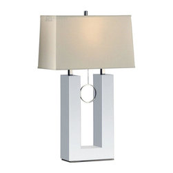 Nova Lighting - Nova Lighting Earring Contemporary Reclining Table Lamp X-83611 - Elegant, unique table lamp. Modern, contemporary, white, chrome, fabric shade. Functional and stylish.