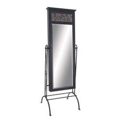 Benzara - Dressing Mirror with Crystal Clear Reflections - This dainty mirror is a stylish addition to your home. The dressing mirror is made of high quality wood and metal that is bestowed with durability to grace your home for a long time. The sturdy metal stand comes with well supported rods and the curved legs offer optimal balance on all four sides. The vertical metal projections have the provision from which the mirror is beautifully fixed in between. It is easy to maintain as well as requires little maintenance to clean and wipe it off. It enhances the room decor and can be carried to another place easily.