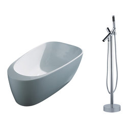 "AKDY - AKDY AK-ZF291 67"" Euro Style White Acrylic FreeStanding Bathtub w/ Faucet Filler - AKDY free standing acrylic bathtubs come in many styles, shapes, and designs. The acrylic material used for tubs is very durable, light weight, and can be molded into a variety of shapes and styles which explain the large selection available in this product category. Acrylic free standing tubs are a cost efficient way to give your bathroom a unique beautiful touch. A bathtub is no longer just a piece of cast iron metal thrown into a bathroom by a builder."