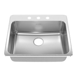 American Standard - Four Hole Stainless Steel Topmount 25.25 inch x 22 inch Single Bowl Kitchen Sink - American Standard 15SB.252284.073 Four Hole Stainless Steel Topmount 25.25 inch x 22 inch Single Bowl Kitchen Sink in Brushed Stainless Steel.
