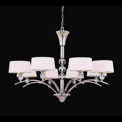 Savoy House - Savoy House 1-1036-8-109 Murren 8 Light Chandelier in Polished Nickel 1-1036-8-1 - A Transitional look, combining the best of Traditional and Contemporary styles, with a cleaner, less ornamented design. The Polished Nickel finish works well with the hardback white fabric shades. This versatile family includes a rod hung three light trestle and an assortment of incredibly unique pendants and bath bars.Bulb Included: Yes Bulb Type: Incandescent Collection: Murren Design Style: Midtown Vogue Energy Star Compliant: No Finish: Polished Nickel Height: 29-5 8 Light Direction: Up Lighting Max Wattage: 320, 40 Number of arms: 8 Number of Lights: 8 Number of Tiers: 1 Safety Rating: UL, CUL Shade: White Shade Socket 1 Base: G9 Socket 1 Max Wattage: 40 Suggested Room Fit: Dining Room Type: Non Crystal Chandeliers Voltage: 120 Weight: 37.94 Width: 41