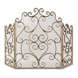 Uttermost - Uttermost 20467  Kora Metal Fireplace Screen - Made of hand forged metal and mesh screen, this fireplace screen is finished in distressed maple wash with gold leaf undertones.