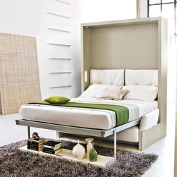 Nuovoliola - The Nuovoliola is a transformable murphy bed system with front sofa and bookshelf, through a mechanism and by an easy movement, it transforms into a double bed always ready to use provided with an innovative slatted bed base with aluminium frame. The sofa is provided with a storage space underneath the seat.