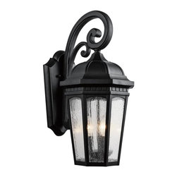 Kichler - Kichler Courtyard 3-Light Textured Black Wall Lantern - 9034BKT - This 3-Light Wall Lantern is part of the Courtyard Collection and has a Textured Black Finish. It is Outdoor Capable.