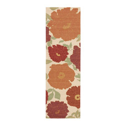 """Nourison - Nourison Vista VIS08 2'6"""" x 8' Ivory Area Rug 13773 - Add a warm ray of sunshine to any area with this exuberant floral print rug in upbeat shades of orange, gold, rust, green, crimson and ivory. The radiant colors and spirited design are accentuated by expert hand carving to create a terrific tone and texture."""