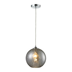 """Elk Lighting - Watersphere Round Textured Glass Pendant Light, Smoked - A new world emerges when you open your eyes underwater. The light in this world is replicated by the Watersphere Glass Pendant Light. Illuminated, the light given from the source at the middle of this fixture meanders around the textural, sporadic water-like pattern of the globe. The result is an almost-mysterious glow that is sure to add style and conversation to any well-appointed space. Suspended by clear cord, this hanging light fixture offers a maximum hanging height of 83""""."""