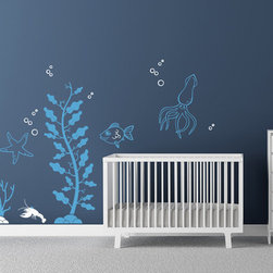 Cherry Walls - Under the Sea Decals - Your little mermaids and mermen aren't confined to dry land with this cool aquatic decal set. A classic ocean theme is sure to please adults and kids alike, and it makes styling your room or nursery a cinch. Place this bevy of friendly sea creatures and swaying ocean plants on your wall and you might just swim away with them.