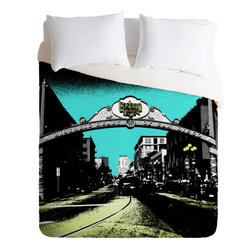 DENY Designs - DENY Designs Amy Smith Gaslamp Duvet Cover - California love. Forty winks look fabulous with the Amy Smith Gaslamp Duvet Cover from DENY Designs. Featuring a photo of San Diego's historic Gaslamp Quarter, this artist-designed piece is custom-created using a six-color printing technique that directly dyes the buttery-soft woven front. A cozy cotton-blend on the backside was created for cuddling. Talk about beauty rest! Pillowcases not includedAvailable in multiple sizesZip closureInterior corner tiesCustom printed for every orderWoven polyester front / cotton-polyester backMachine washableDesigned by Amy SmithMade in the USAShips in 1 week