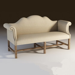 """French Linen Settee 73"""" - Our Luxurious reproduction of the classic Victorian Salon Bench. Upholstered in Belgian linen with hand-hammered shoe nails. Kiln-dried solid weathered oak frame, eight-way hand-tied spring suspension and generously padded back and arms. Our French Settee is scaled for the salons, dining rooms or bedrooms"""