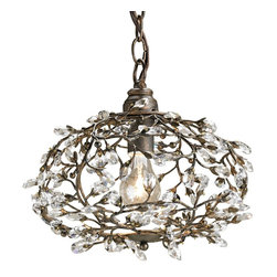 Currey and Company - Dream Pendant - The crystal bud elements accent the vine effect in this ball lantern design chandelier.