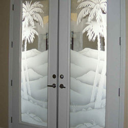 """Desert Palms I 3D - These beautiful glass double entry doors are hand-crafted, sandblast frosted and 3D carved, adding a unique element and a level of luxury to your entry!  Available as an interior or entry door in 8 woods and 2 fiberglass, as a slab door or prehung in the jamb in any size, or as glass insert only (if you already have your door).  From simple frosted glass effects to our more extravagant 3D sculpture carving, painted and stained glass .. and everything in between, Sans Soucie designs are sandblasted different ways which create not only different effects but different levels in price.  The """"same design, done different"""" - with no limit to design, there's something for every decor, regardless of style.  Inside our fun, easy to use online Door Designer at sanssoucie.com, you'll get instant pricing on everything as YOU customize your door and the glass!  When you're all finished designing, you can place your order right there online!  Doors ship worldwide at reasonable prices from Palm Desert, California with delivery time between 3-8 weeks depending on door material and glass effect selected.  (Doug Fir or Fiberglass in Frosted Effects allow 3 weeks, Specialty Woods and Glass  [2D, 3D, Leaded] allow up to 8 weeks)."""