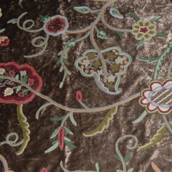 Crewel Fabric World by MDS - Crewel Fabric Lotus Modern Brown Cotton Viscose Velvet- Yardage - Fabric Type: Cotton Viscose Velvet