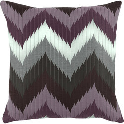 Lacefield Designs - Lacefield Designs Quilted Chevron Purple Knife-Edge Throw Pillow -