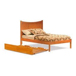 Atlantic Furniture - Full Manhattan Platform Bed / Open Foot Rail / Trundle / Caramel Latte - This elegant bed with classic look and fine cottage styled design comes with curved headboard that ads an interesting look, durable frame made of solid Asian hardwood, and Trundle Bed. This price is for Twin bed with Open Footrail and Trundle Bed.