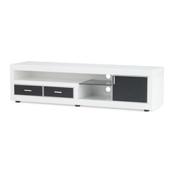 "Zuri Furniture - White Lacquer Sullivan 71"" Inch TV Stand - The sleek Sullivan TV Stand is perfect for neatly storing your media components in a sensible design conscious storage unit. The Sullivan features sliding door, shelving, and drawers, complemented by contrasting chic white and black high gloss finish."