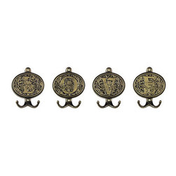 Ballard Designs - Filigree Monogram Hooks - Hang up your keys, coat and scarf on these golden hooks. They would also be pretty in a closet for displaying necklaces.