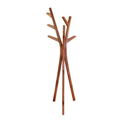 "Teak Wood Brown Coat Stand - Purse or Hat Hanger - Guests will surely complement your stylish taste for this sculptural home accent. It is made of the finest Indonesian teak wood and will add an element of sculptural yet functional design to your home. This has been handcrafted by some of Bali's most skilled carpenters. H 67"" x L 15"" x W 16"" - Made of the finest Indonesian teak wood. - A creative piece of art that fits easily in any room."
