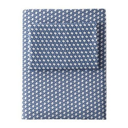 Serena & Lily - French Ring Sheet Set  Navy - An ode to vintage neckties, this timeless print provides a nice graphic layer to the bed. A great everyday basic in classic navy, it works with everything from neutrals to bold bursts of color. We love the play of tonal blues, punctuated with white.