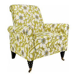 PORTFOLIO - Portfolio Hyde Green Flower Arm Chair - The Hyde accent chair is part of the Portfolio Collection. The Hyde chair has a slightly rounded arm and is covered in a floral fabric.