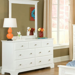Homelegance - Homelegance Morelle 7 Drawer Dresser w/ Mirror in White - The warmth of cottage living is invoked by the classic styling of the Morelle Collection. The collection is designed with many features perfect for today s casual lifestyle such as a low post bed with simple picture framing and round finials plus molded drawer fronts and satin nickel knobs on the case pieces. The addition of a pull out trundle and toy box offerings further the functionality of the collection. The ability to choose from twin  full  queen  California king and Eastern king bed sizes makes this group perfect for youth bedrooms  guest bedrooms or master bedrooms. Adding to the versatility are two distinct painted finishes  black and white.