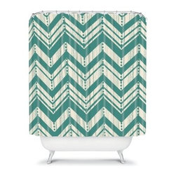 Deny Designs Heather Dutton Weathered Chevron Shower Curtain - A popular chevron design with a distressed look makes the Deny Designs Heather Dutton Weathered Chevron Shower Curtain a natural choice for updating your bath. Fresh color and great style, this shower curtain is an original Heather Dutton design that makes a style statement.About DENY DesignsDenver, Colorado based DENY Designs is a modern home furnishings company that believes in doing things differently. DENY encourages customers to make a personal statement with personal images or by selecting from the extensive gallery. The coolest part is that each purchase gives the super talented artists part of the proceeds. That allows DENY to support art communities all over the world while also spreading the creative love! Each DENY piece is custom created as it's ordered, instead of being held in a warehouse. A dye printing process is used to ensure colorfastness and durability that make these true heirloom pieces. From custom furniture pieces to textiles, everything made is unique and distinctively DENY.