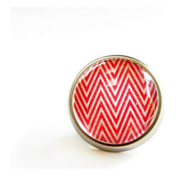 Red Chevron Modern Cabinet Knob By feather & wind - This red chevron knob would be the perfect little touch to liven up an old dresser. I can see it working beautifully on a distressed-white or daffodil-yellow finish.