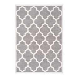 Safavieh - Rosamonde Indoor/Outdoor Rug, Dark Grey / Beige 10' X 14' - Construction Method: Power Loomed. Country of Origin: Turkey. Care Instructions: Easy To Clean. Just Rinse With A Garden Hose. Coordinate indoor and outdoor living spaces with fashion-right Amherst all-weather rugs by Safavieh. Power loomed of long-wearing polypropylene, beautiful cut pile Amherst rugs are made to stand up to tough outdoor conditions, but designed with the aesthetics of indoor rugs. Use these family-friendly geometric designs on patios, in kitchens, busy family rooms and other high traffic rooms.