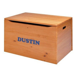 Personalized Handcrafted Toy Chest by Little Colorado - Our handcrafted toy chest features an approved safety lid support that prevents the top from ever falling. The front panel has an additional finger safety cutout and hand holds are cut into the sides. This toy chest is built the old fashioned way using solid wood screws and glue to create an heirloom quality piece that can be handed down from one generation to the next. Available unfinished or in a variety of neutral or painted finishes. Your personalization will be placed on the front panel the font size is 1.5 inches with an 11 character limit in a Cooper font. Each name is cut from vinyl. This sits flat on the toy box. Little Colorado is a Green CompanyAll finishes are water-based low-VOC made by Sherwin Williams and other American manufacturers. Wood raw materials come from environmentally responsible suppliers. MDF used is manufactured by Plum Creek and is certified green CARB-compliant and low-formaldehyde. All packing insulation is 100% post-consumer recycled. All shipping cartons are either 100% post-consumer recycled or are made of recycled cardboard. About Little ColoradoThis item is made by Little Colorado. Begun in 1987 Little Colorado Inc creates solid wood hand-crafted children's furniture. It's a family-owned business that takes pride in building products that are classic stylish and an excellent value. All Little Colorado products are proudly made in the U.S.A. with lead-free paints and materials. With a look that's very expensive but a price that is not Little Colorado products bring quality and affordability to your little one's room.