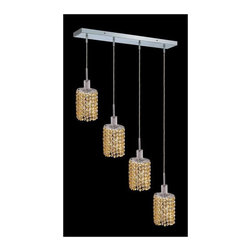Elegant Lighting - Mini Topaz Crystal Pendant w 4 Lights in Chrome (Royal Cut) - Choose Crystal: Royal Cut. 3 ft. Chain/Wire Included. Bulbs not included. Crystal Color: Lt. Topaz (Yellow). Chrome finish. Number of Bulbs: 4. Bulb Type: GU10. Bulb Wattage: 55. Max Wattage: 220. Voltage: 110V-125V. Assembly required. Meets UL & ULC Standards: Yes. 26 in. D x 8 to 48 in. H (12lbs.)Description of Crystal trim:Royal Cut, a combination of high quality lead free machine cut and machine polished crystals & full-lead machined-cut crystals..SPECTRA Swarovski, this breed of crystal offers maximum optical quality and radiance. Machined cut and polished, a Swarovski technician¢s strict production demands are applied to this lead free, high quality crystal.Strass Swarovski is an exercise in technical perfection, Swarovski ELEMENTS crystal meets all standards of perfection. It is original, flawless and brilliant, possessing lead oxide in excess of 39%. Made in Austria, each facet is perfectly cut and polished by machine to maintain optical purity and consistency. An invisible coating is applied at the end of the process to make the crystal easier to clean. While available in clear it can be specially ordered in a variety of colors.Not all trims are available on all models.