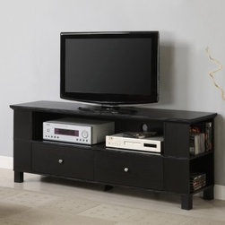 Walker Edison 60-in. Wood TV Console with Multi-purpose Storage - Black - Black goes with everything. That's why the Walker Edison 60-in. Wood TV Console with Multi-purpose Storage - Black is such a good choice for your modern entertainment room. After all most TVs are black and when you place a black TV on a black console you have a perfect pair that really fits. Constructed with protective laminate and MDF (a dense warp-resistant engineered wood) this durable TV console has a center open shelf for your DVD player and other audio-visual components as well as a two lower drawers that can hold game controllers remotes and other accessories. Four partially hidden side shelves hold a bunch of DVDs Blu-ray discs and CDs. The console's spacious top can support most flat panel TVs measuring up to 58 inches wide. Wire management holes in the back panel keep cords out of sight and under control.About Walker EdisonSpecializing in quality furniture at low prices Walker Edison Furniture Company manufactures a wide variety of furniture pieces for the North American marketplace. From bedroom furniture and desks to coffee tables dining tables and TV stands Walker Edison provides practical decor solutions for today's functional homes. With factories strategically located all over the world Walker Edison balances cost with low-priced raw materials and skilled artisans to deliver smart furniture pieces that fit every budget.