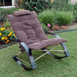 International Caravan - Folding Bentwood Rocking Chair with Extendable Footrest and Removable Cover - Add a touch of comfort and vintage style to your indoor furnishings with the Folding Bentwood Rocking Chair. This comfortable chair features a removable,chocolate-colored corduroy seat pad and an extendable footrest for added comfort.