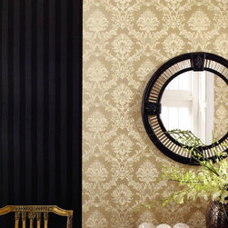 Simply Silks Wallpaper in Damask Sand - Find this pattern in the Simply Silks Collection at AmericanBlinds.com.