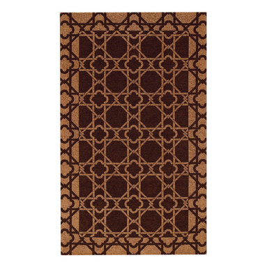 Lattice rug in Mocha - An unsually strong flat woven quality, this unique rug collection is created on precision jacquard looms in Belgium.  A tough blend of cotton and acrylic yarns assure durability and reliable service, and the colors are clear and fashion-forward.  Designs lend themselves to both Transitional and Contemporary decor.