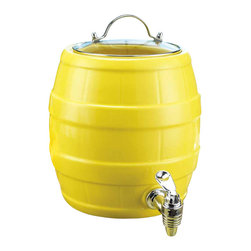 Home Essentials - Ceramic Yellow Drink Dispenser With Spigot - Fill our party-sized 1.5 gallon ceramic beverage server with your favorite sangria, punch or the iced thirst-quencher of your choice. This Yellow Drink Jug will add some fun & spice to your picnic and parties for your summer drinking enjoyment. The handy spigot lets guests serve themselves it is finished with a glass lid.