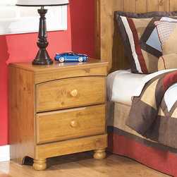 Signature Design by Ashley - Signature Designs by Ashley Stages Replicated Pine Grain 2-drawer Night Stand - Bring country charm to your decor with this rustic Stages night stand by Ashley Furniture which features a medium distressed replicated pine grain finish. Bucolic and inviting,this wood bedside piece features a curved top drawer and larger bottom drawer.