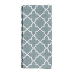 """Roz Tile Dinner Napkin, 22"""", Set of 4, Blue Smoke - Freshen up the look of a kitchen or dining room effortlessly and affordably with our tile-printed, crisp cotton napkins. 20"""" square Woven of pure cotton. Monogramming is available at an additional charge. Monogram will be placed at one corner of each napkin. Set of 4. Machine wash. Imported."""