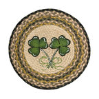 Earth Rugs - CH-116 Shamrock Round Chair Pad 15.5in. - Shamrock Round Chair Pad 15.5 in.