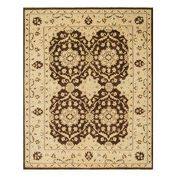 """Loloi Rugs - Loloi Rugs Vernon Collection - Brown / Lt. Gold, 5'-6"""" x 8'-6"""" - The hand-knotted Vernon Collection is at once sophisticated and trendy. Made in India of 100-percent fine wool, Vernon's traditional designs are inspired by Turkish Oushaks. Note the meticulous antique finishing, which gives each rug in the collection a distinctive, Old-World patina. Vernon takes traditional rug fashions up a notch."""