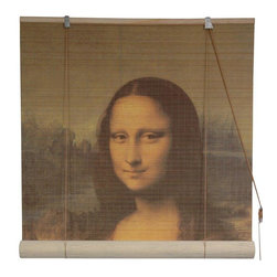 Oriental Furniture - Mona Lisa Bamboo Blinds - (24 in. x 72 in.) - Adorn your windows with this stunning reproduction of Leonardo da Vinci's most famous painting. Made from tightly woven, all-natural bamboo matchsticks, it makes an elegant accent for the home or office and is easy to set up and install.