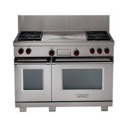 "Wolf 48"" Dual Fuel Range - The large electric oven features the Wolf dual convection system that delivers even temperature and airflow throughout."
