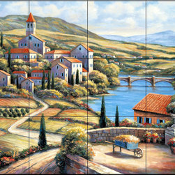 The Tile Mural Store (USA) - Tile Mural - The Village A - Kitchen Backsplash Ideas - This beautiful artwork by John Zaccheo has been digitally reproduced for tiles and depicts a village scene.  This street scene tile mural would be perfect as part of your kitchen backsplash tile project or your tub and shower surround bathroom tile project. Street scenes images on tiles add a unique element to your tiling project and are a great kitchen backsplash idea. Use a street scene tile mural, perhaps a Tuscan theme tile mural, for a wall tile project in any room in your home where you want to add interesting wall tile.