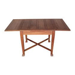 Antiques - Antique 5Ft Solid Oak Arts & Crafts Drawleaf Dining Pub Table - Country of Origin: England