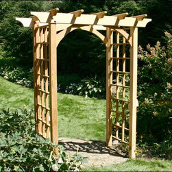 Fifthroom - Red Cedar Canterbury Arbor - We're not telling tales � our Canterbury Arbor will make a magnificent entryway to your garden. Watch it come alive with brilliant color, as your morning glories weave their way up the latticed side panel, and across the flat, planked top, becoming more glorious every day.  Made entirely from red cedar, this arbor will provide a breath-taking spectacle year after year, no matter what type of flower, vine, or ivy that you plant.
