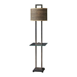 """Uttermost - Uttermost Stabina End Table Lamp 17 x 10 x 67.25"""", Bronze - Rustic bronze metal with burnished edges, black marble foot and a tempered, rectangle glass tray. The oval drum shade is brown and tan woven rattan with decorative trim.Designer: Carolyn KinderWattage: 60WDimensions: 17"""" depth by 10"""" width by 67.25"""" heightMaterial: marble/metal/cane/glass"""