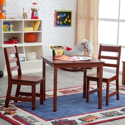 Lipper Childrens Square Table and Chair Set - Two is company! Your child can entertain a friend with snacks and stories when they gather around this handsome wood-grained Square Table and Chair Set. Designed for a child's diminutive stature the chair seats and tabletop are totally accessible while the natural cherry or pecan wood grain finish gives a lustrous beauty that adults will appreciate too. The Square Table and Chair set which is also available in bright white includes TWO chairs so your child has a place of honor for a guest or favored plush toy. About Lipper InternationalLipper International provides exceptionally valued kitchen home & office organizers including the Soho Spice Collection; single serve coffee pod organizers; kitchen pantryware cutting boards and tools; serving & entertaining accessories; and children's furniture and toy chests. Lipper uses the finest quality materials including stainless steel bamboo acacia wood chrome- and powder-coated metals and other fine quality hard woods. Known for product functionality as well as beauty and quality craftsmanship Lipper International combines quality style service and price into every product and collection it offers.