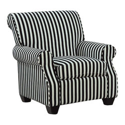 Coaster - Coaster Club Chair in Black and White Stripes - Coaster - Club Chairs - 902085 - This black and white stripe accent chair with plush seating is sure to make a bold statement. Pair with any of our black or white sofa sets.