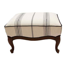 Striped Linen - Beautiful vintage newly re-upholstered ottoman. The fabric is a heavyweight ivory linen with rich texture and black stripes. The base is a beautifully carved walnut wood. The vintage leg and fresh update of fabric create an eclecticism that can reside with any style of decor.