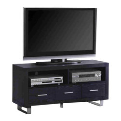 Coaster - Coaster Black 47 Inch Contemporary Media Console with Shelves and Drawers - Coaster - TV Stands - 700644 - This bold contemporary media console will add great style and function to your living room or family room. The sleek piece features a clean and simple design. The generous top surface will accommodate your television while two open compartments below are ideal for electronics components. Three small lower drawers offer additional enclosed storage for movies gaming equipment and other media items. The rich Black finish will complement any decor with simple silver tone metal handles and a metal base for a cool contrast. Create a distinctive look in your living room with this wonderful TV stand. Choose from a variety of TV stands to fit your needs and complement your home decor! With many different styles finishes and sizes available you are sure to find an option that you love. With plentiful media storage options and entertainment solutions these media console will keep your family and friends happily entertained for hours without compromising the style of your living room or family room.