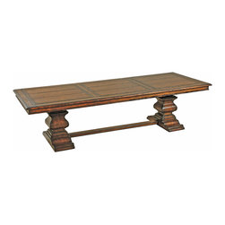 "Ambella Home - Aspen Rectangular Dining Table - 96"" - In Europe, this is called a monks' table because it is large enough to seat a crowd. You can call it your favorite place to entertain a crowd. Carved from solid hardwood with an oak veneer, you'll swear you can see your reflection in its rich mahogany finish."